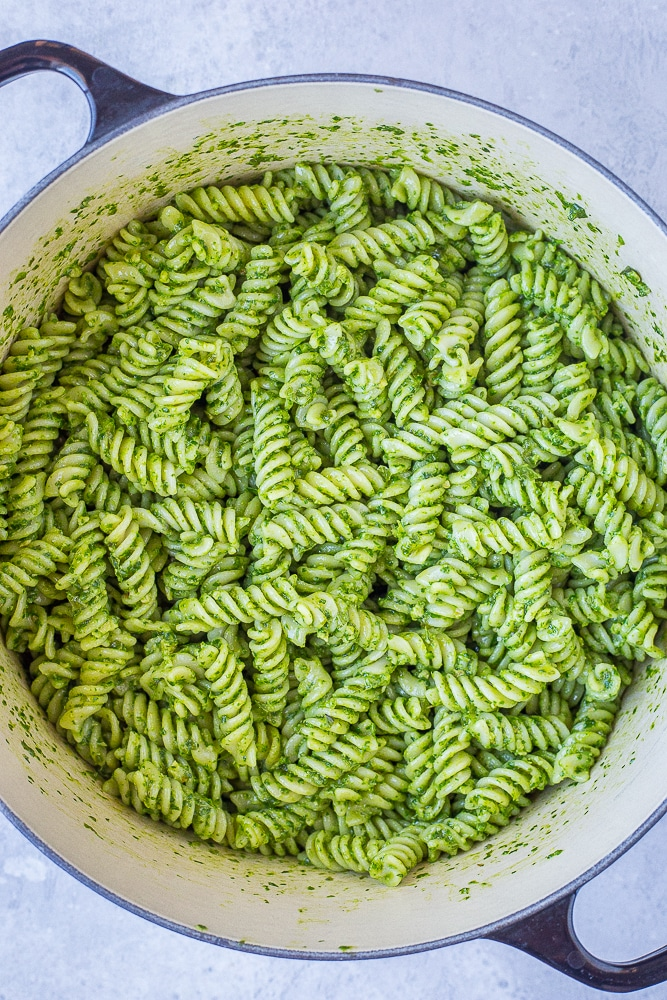Pot full of hidden veggie pesto pasta