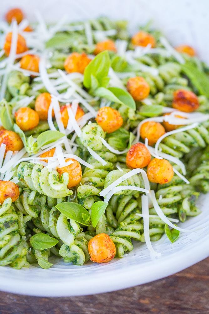 Close up view of pesto pasta recipe