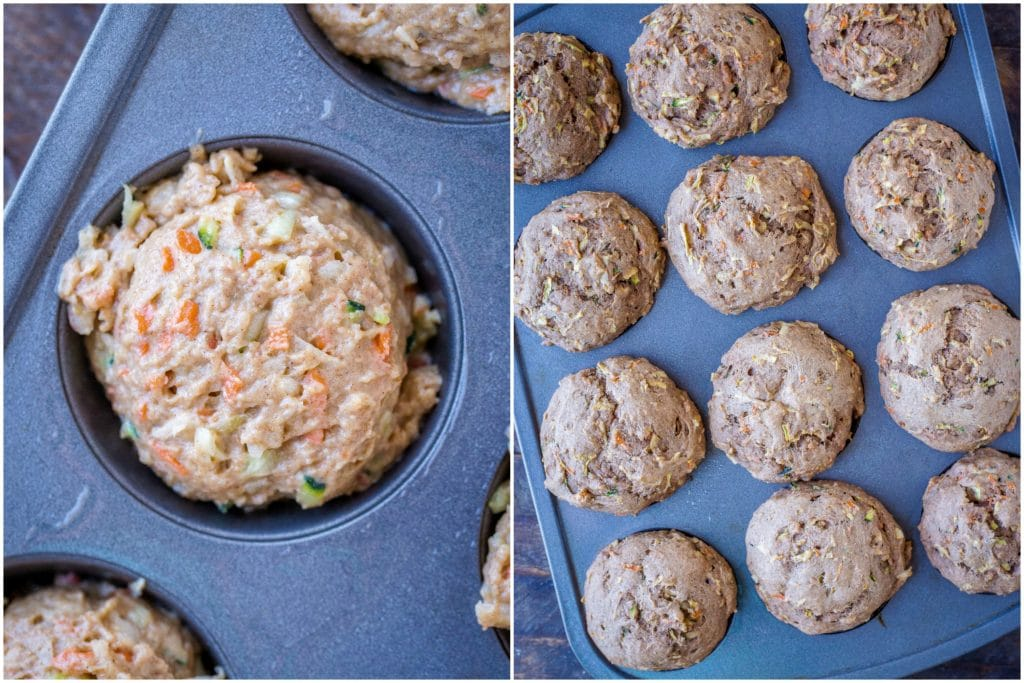 side by side photos of the zucchini apple carrot muffins before and after they are baked