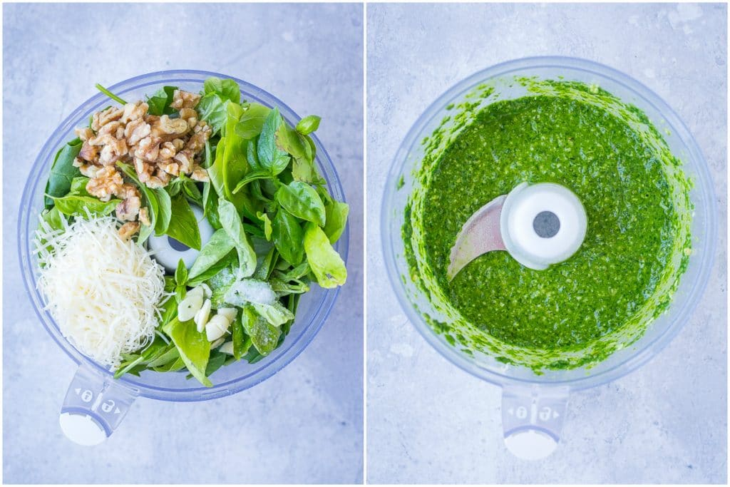 before and after photos of pesto sauce recipe being made