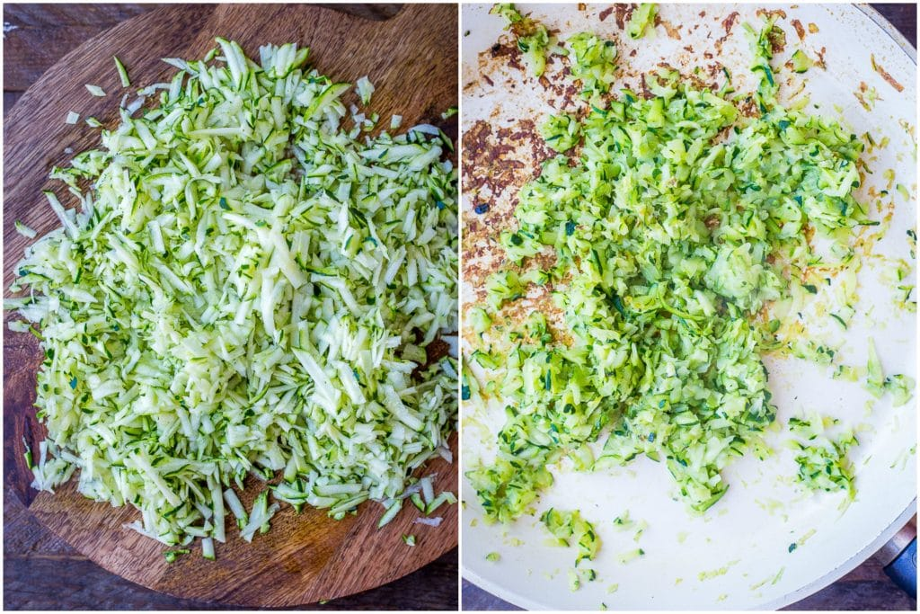 Grated zucchini and cooked zucchini side by side for zucchini pizza bite recipe