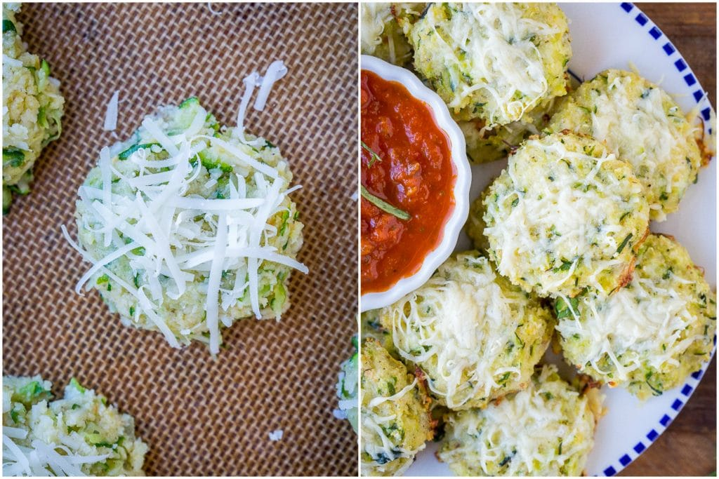Side by side photos of zucchini pizza bites before cooked and after cooked