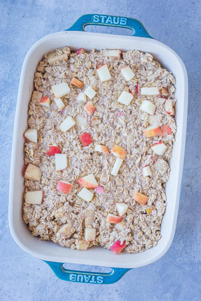 Apple Cinnamon Baked Oatmeal Recipe ready to be baked in a baking dish