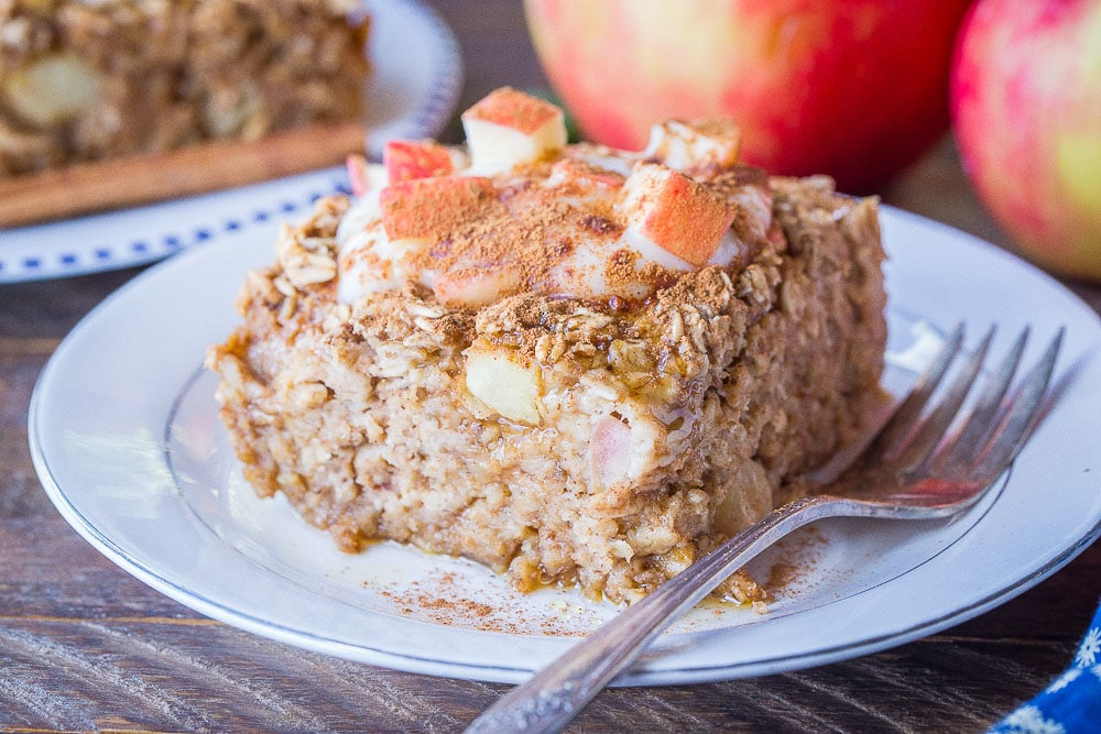 Close up of a slice of apple cinnamon baked oatmeal