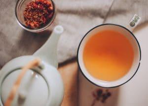 Cup of wild rose hip tea.