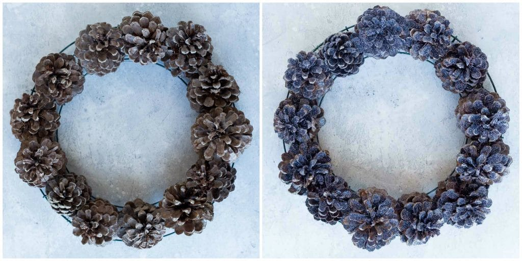 Before and after pinecone wreath with black glitter