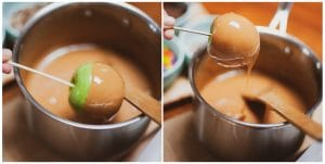 Dipping apples in caramel sauce.