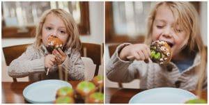 Child eating a Halloween Caramel Apple