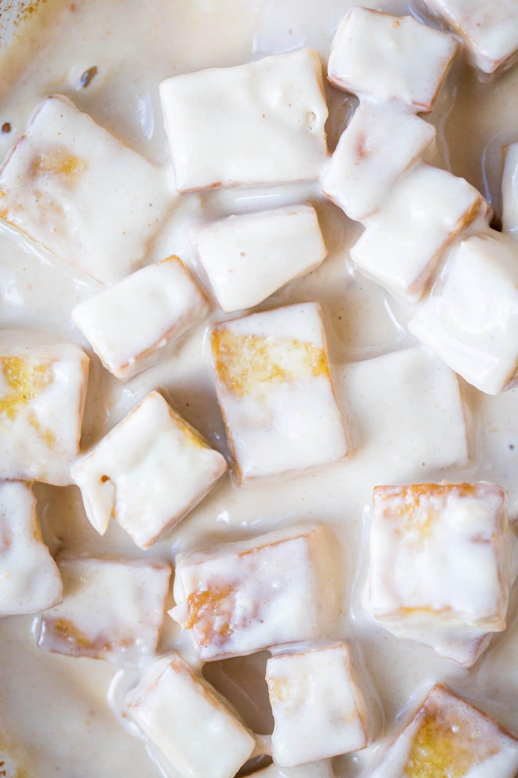 Close up of peanut butter tofu