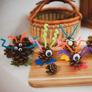 A row of pinecone monsters.