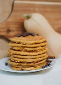 Stack of butternut squash pancakes.