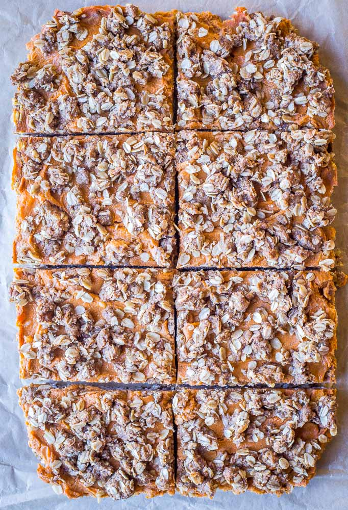 Sweet Potato Pie Bars out of the oven cut into slices