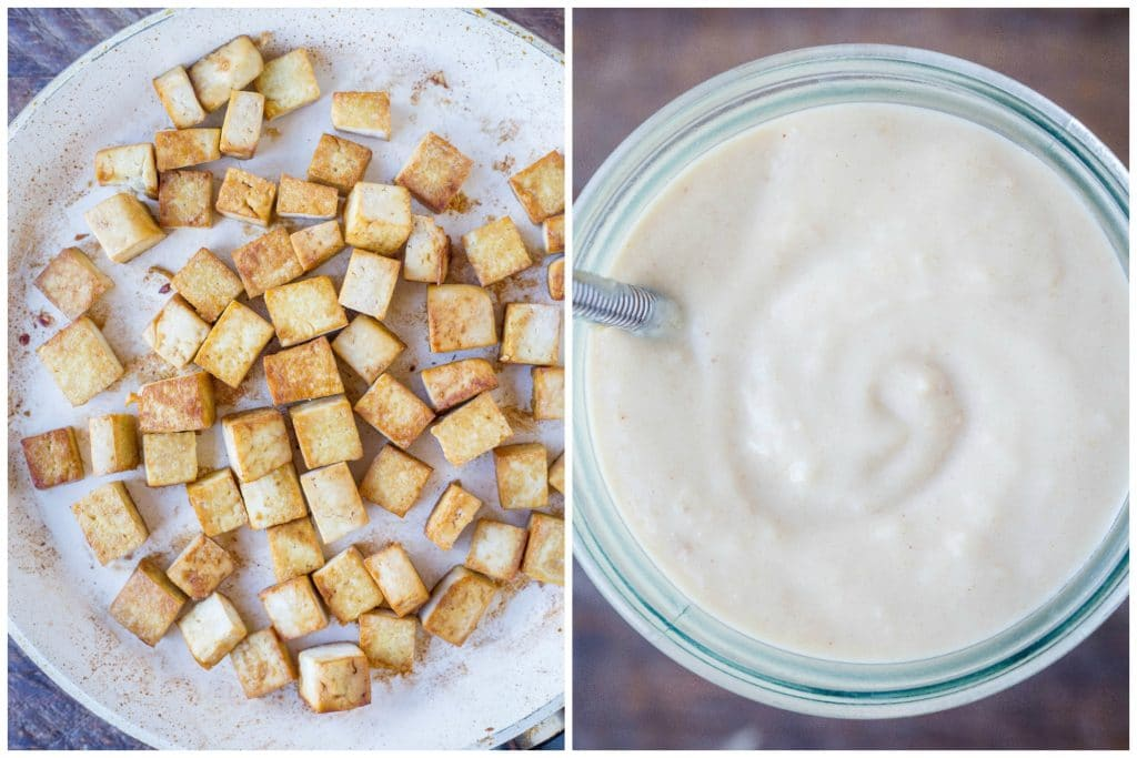 Side by side photos of cooked tofu and peanut sauce in a jar for this Easy Peanut Butter Tofu Recipe