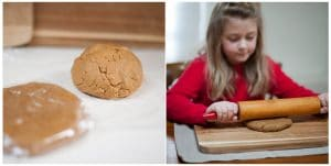 Child rolling out gingerbread dough to make a gingerbread turkey cookie.