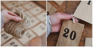 The twine and mini clothes pins needed to make an activity advent calendar.