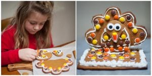 A child decorating a gingerbread turkey cookie.