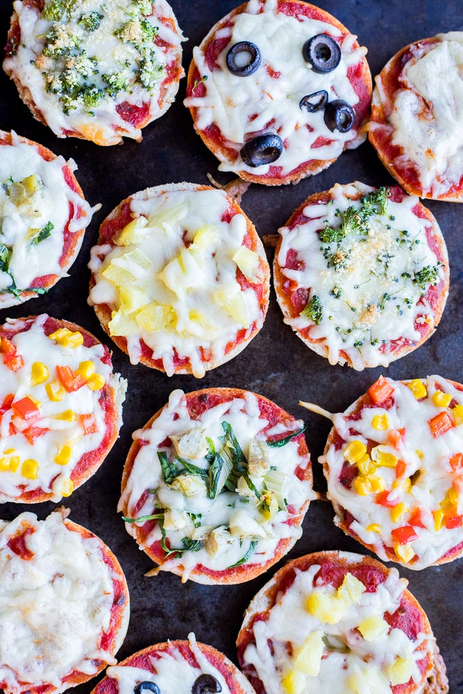 Tray of baked mini pizza bagels