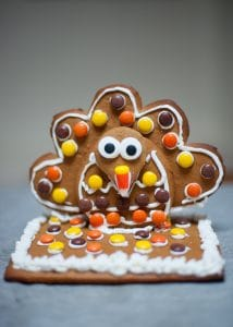 Completed gingerbread turkey cookie.