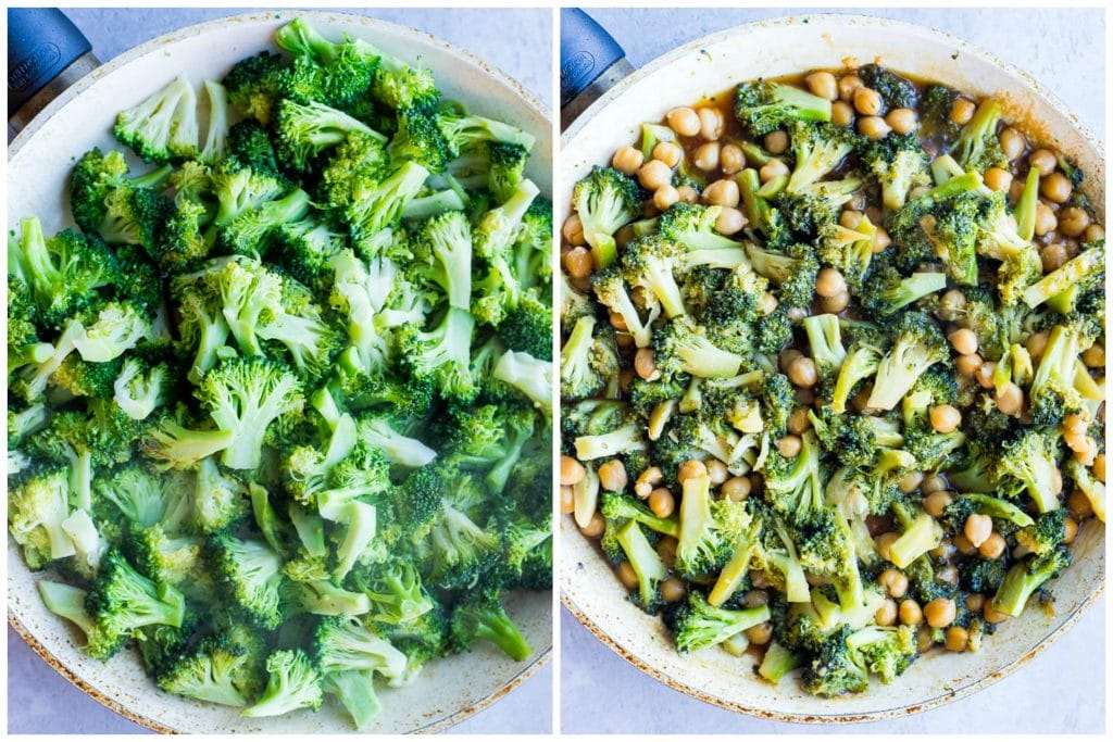 Showing how to make teriyaki stir fry with broccoli and chickpeas