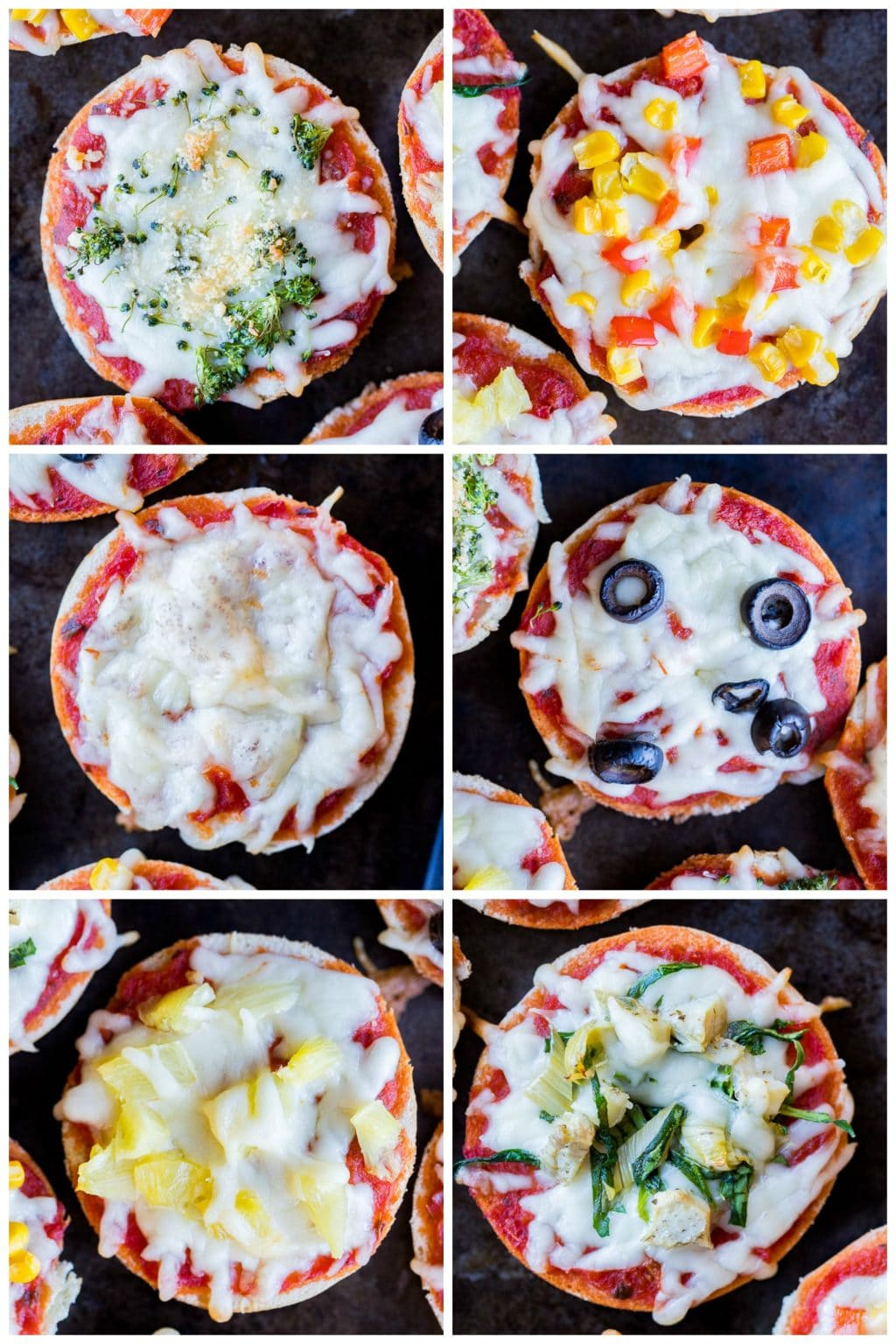 Collage showing different pizza topping ideas for kids