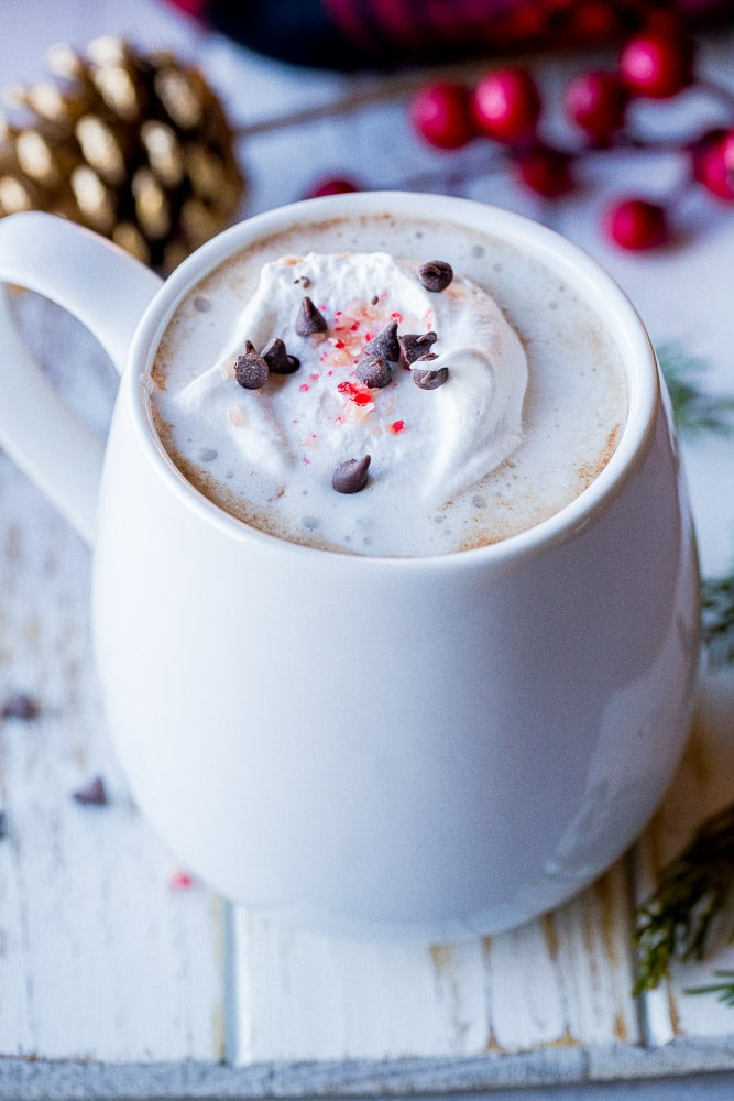 Close up of a mug of homemade hot chocolate