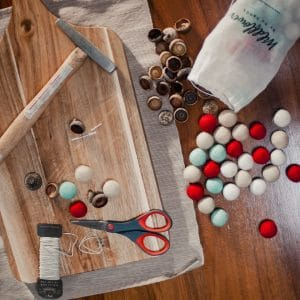 Supplies needed to make felt acorn ornaments