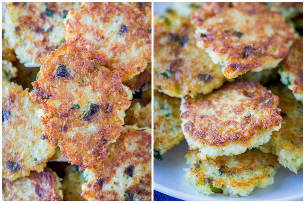 Close up of traditional potato latke recipe crispy
