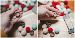 String thread through the holes to create your ornament.