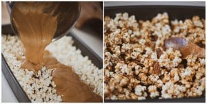 Pour sauce over popcorn and evenly coat.