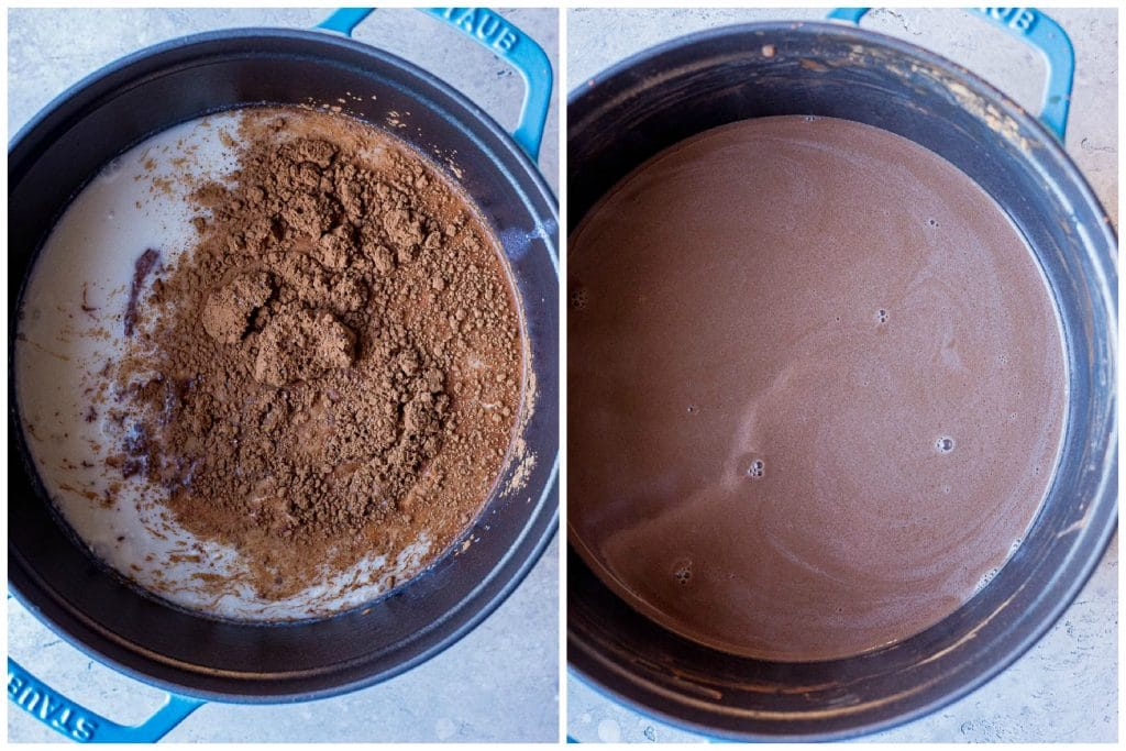 Before and after photos of homemade hot chocolate recipe