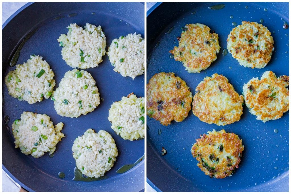 Potato latkes cooking in a pan before and after