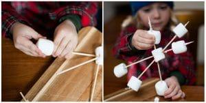 Child creating a large basic marshmallow snowflake.