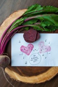Beet stamp valentines.