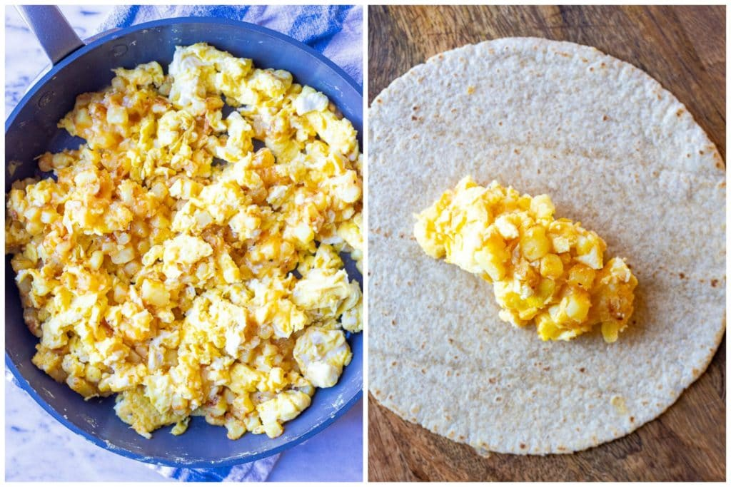 Showing how to make these potato egg and cheese breakfast burritos