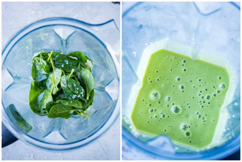 before and after ingredients for a green smoothie in a blender