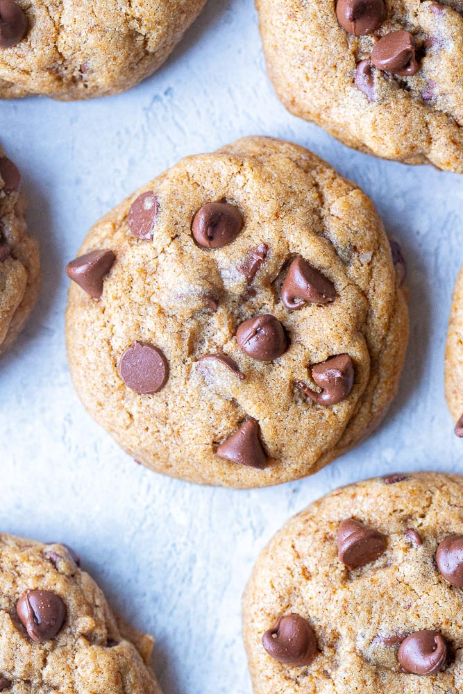 Close up of healthier chocolate chip cookies