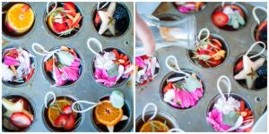 Arrange material in a muffin tin and pour water over them and then freeze.