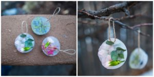 Examples of a completed ice ornament.