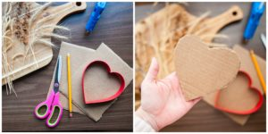 Supplies needed to make nature valentines.