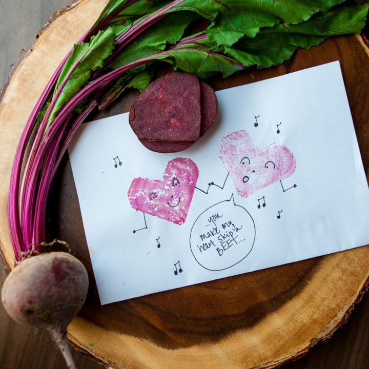 How to Make Beet Heart Stamps