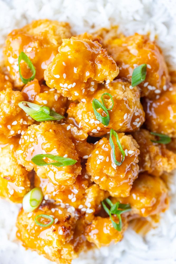 Close up of the best vegan orange chicken