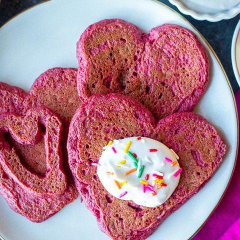 Pink Heart Pancakes {Dairy Free}