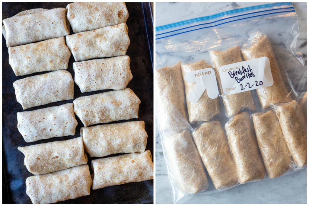 Breakfast burritos wrapped up and in a freezer bag for the freezer