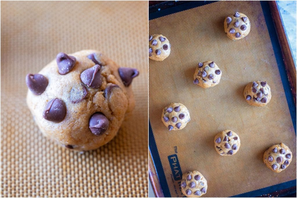 Healthy chocolate chip cookie dough in balls in a cookie sheet