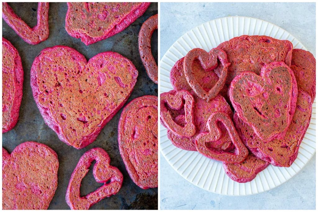 pink heart Valentine's Day pancakes on a tray and on a plate