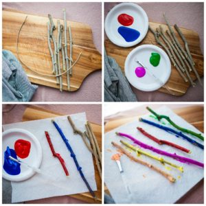 Painting the sticks for your stick wind chime.