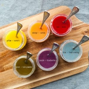 Food and spices used to make colors for DIY paints.
