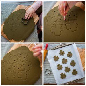 Cut out shamrock shapes from the salt dough and bake.