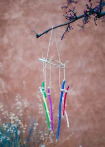 Completed Rainbow Stick Wind Chime