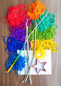 Supplies needed to make Rainbow Wands.